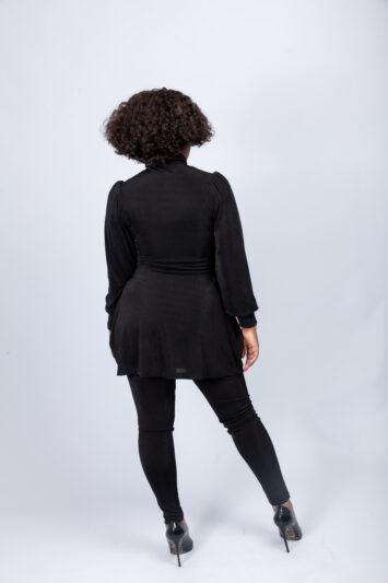 Black poloneck top with leggings