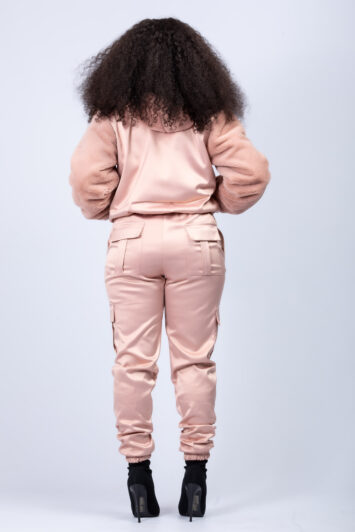 Dusty pink satin & faux fur jacket with cargo joggers
